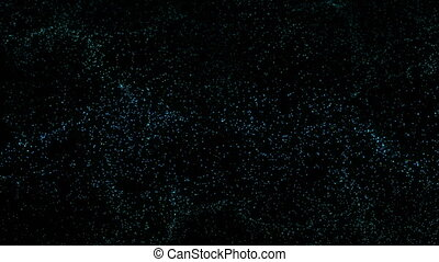 Abstract digital colorful circle particle in blue color on black background. 3D animation.