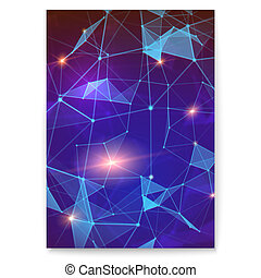 Abstract digital cover with pattern of plexus representing the global interaction. Concept of global network for communicate. Vector 3D illustration. Worldwide exchange of information by internet.