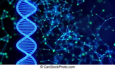 Abstract digital DNA molecule with rotating plexus project background