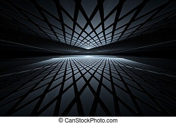 Abstract digital fractal art on perspective - Abstract...