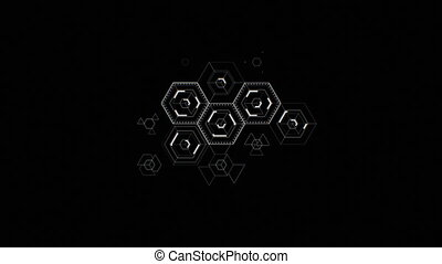 Abstract Digital Hexagon Icons Drawing on Black Background...