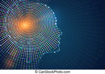 Abstract digital human profile on blue background. Artificial intelligence concept. 3D Rendering