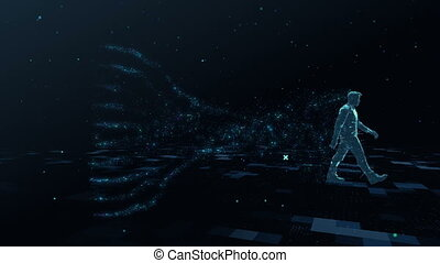 Abstract digital male walks in digital space generating a cloud of data symbols of particles gathering in a big data. The concept of bigdata, big brother, digital spy. Spy on people. End of privacy. Computing personal information. Anonymous data.