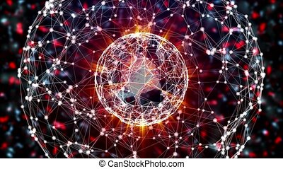 Abstract digital network sphere with moletula dividing