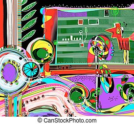 abstract digital painting, coloring composition of modern art