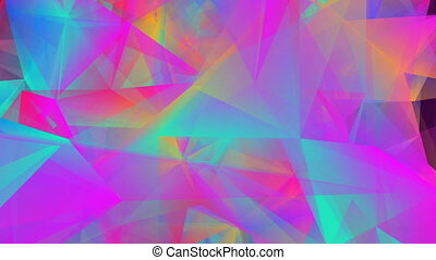 abstract digital picture of multicolored triangles. seamless loop.
