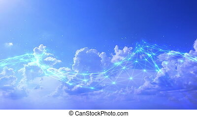 Abstract digital Sky background with 3d Render Plexus Connections. Big data sky visualization. Network connection structure. Science background Concept.