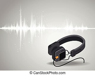 Abstract digital sound wave oscillating with Headphones background.