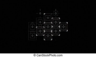 Abstract Digital Square Icons Drawing on Black Background...
