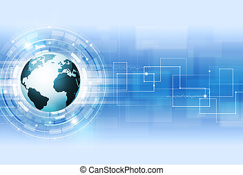 Abstract Digital Technology Blue Background