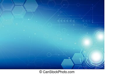 abstract digital technology with blue gears background vector, hexagon