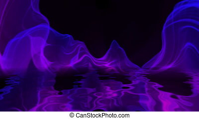 Abstract Digital Wave And Smoke Flow reflecting in water