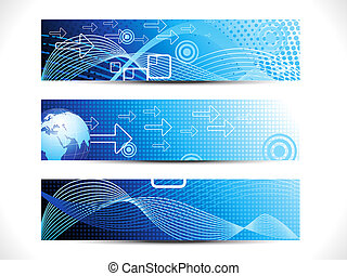 abstract digital web header set vector illustration