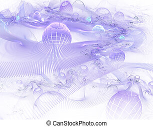Abstract digitally rendered fractal puprple world in space on black.