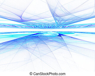 Abstract digitally rendered horizon cyperspace fractal. Good...