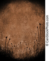 abstract dirty leather background with flowers
