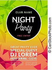 Abstract disco dance night party poster brochure design backgorund. Creaive flyer music show entertainment night club