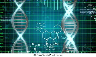 Abstract DNA Strands on a grid background. Science...