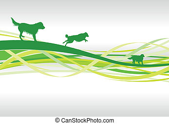 abstract dogs  - green abstract dog line background