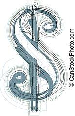 Abstract dollar symbol vector illustration