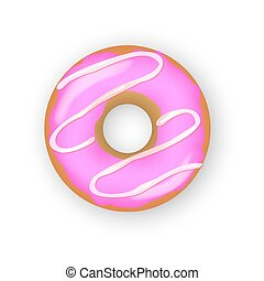 Abstract donut for decorative design. Realistic donut on white background. Dessert food. Color illustration. Doughnut glaze. Vector illustration. Sweet food concept. Vector top view. Yummy sweet.