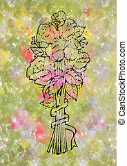 Abstract doodle roses bouquet