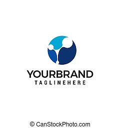 Abstract Dot circle connection technology logo design concept template vector