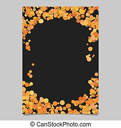 Abstract dot design page template - vector blank poster border graphic with orange color circles on black background