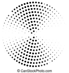 Abstract dotted circle curved. Illustration design in halftone style.