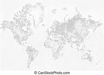 Black halftone world map of small dots in radial clip art vector abstract dotted map black and white halftone grunge effect illustration world map silhouette continental gumiabroncs Images