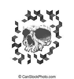 Abstract dotwork grunge skull tattoo design.