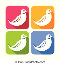 Abstract Dove Bird Color Rounded Square Icons