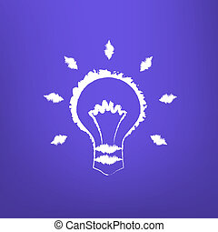 Abstract Draw Light Bulb isoated on blue-violet background....
