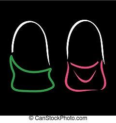 Abstract drawing of handbag - Abstract drawing of stylish...