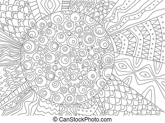 abstract drawing of sun for coloring book
