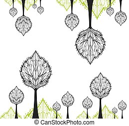 Abstract drawing tree of white background