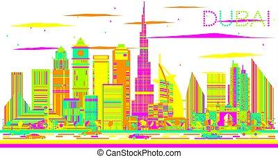 Abstract Dubai Skyline with Color Buildings.
