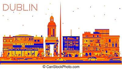 Abstract Dublin Skyline with Color Buildings.