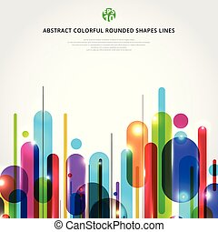 Abstract dynamic composition made of various colorful rounded shapes lines rhythm white background modern style.