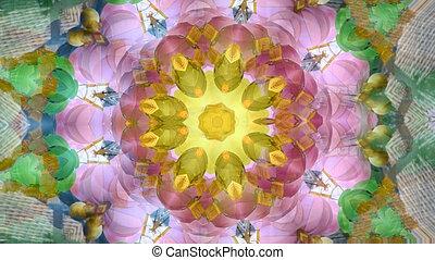 Abstract dynamic geometric kaleidoscope flower pattern...