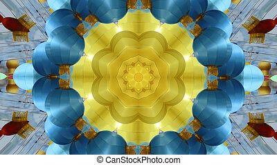 Abstract dynamic geometric kaleidoscope flower pattern