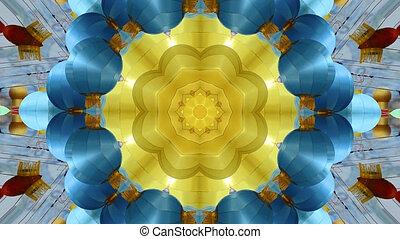Abstract dynamic geometric kaleidoscope flower pattern