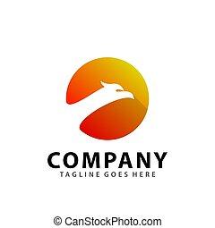 Abstract Eagle Circle Head Icon Logo Design Vector Illustration Template