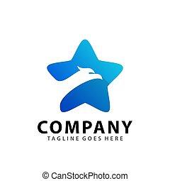 Abstract Eagle Star Head Icon Logo Design Vector Illustration Template
