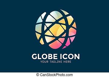 abstract earth globe logo design