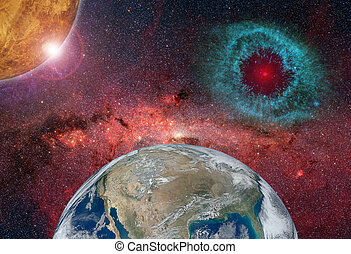 abstract Earth in space. Elements of this image furnished by NASA