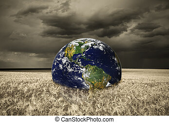 Abstract earth in storm field.