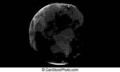 Abstract Earth of dots rotating