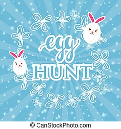 Abstract easter card with a cute white rabbits in  shape of  egg on blue rays background