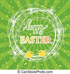 Abstract easter card with a cute yellow chick on green rays background, vector illustration.